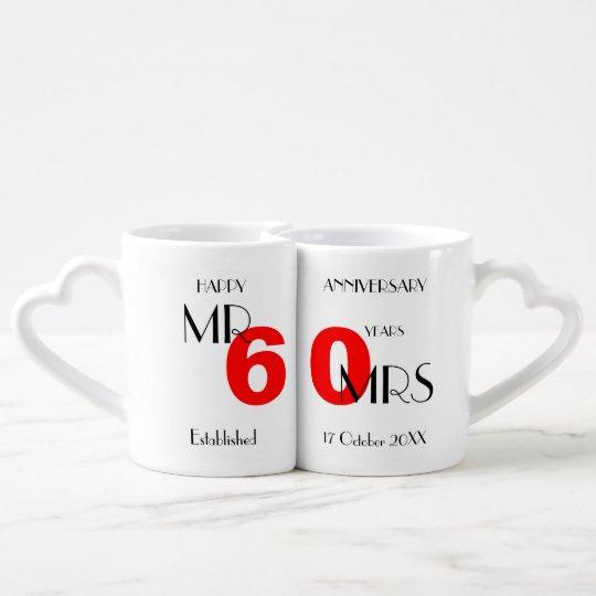 Happy Anniversary 60 Years Married Personalized Coffee Mug Set