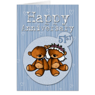 happy anniversary bears - 51 year card