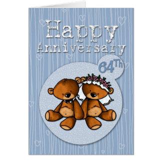 happy anniversary bears - 64 year card