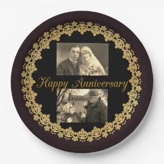 Happy Anniversary Black & Gold Personalized Plate 9 Inch Paper Plate