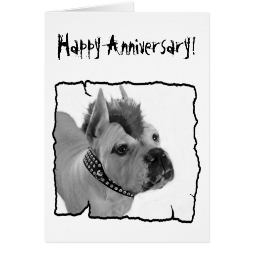 Happy anniversary boxer punk greeting card zazzle