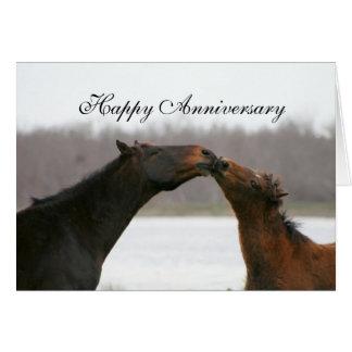 Happy Anniversary Card Kissing Horses Photo
