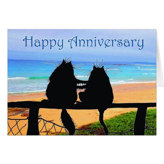 Happy Anniversary, cats silhouette, beach. Card