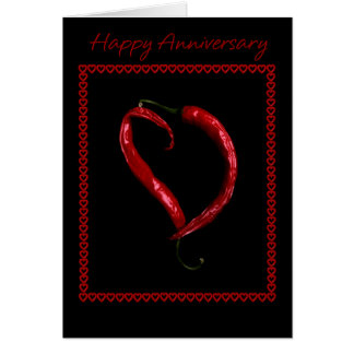 Happy Anniversary Chili Pepper Heart Card