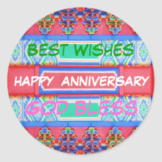 Happy Anniversary - Chinese Lucky Color Pattern Classic Round Sticker