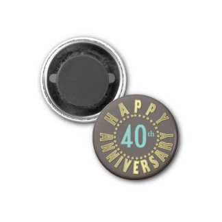 Happy Anniversary Circle of Stars Gold ID173 1 Inch Round Magnet