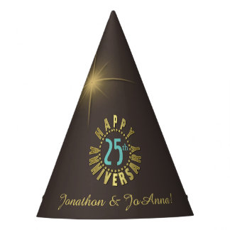 Happy Anniversary Circle of Stars Gold ID173 Party Hat