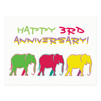 Happy Anniversary Colorful Cartoon Elephants Chic Postcard