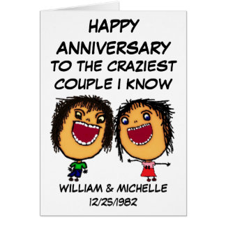 Happy Anniversary Crazy Cartoon Couple Greeting Card