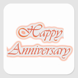 HAPPY Anniversary : Elegant Text  Background Color Square Sticker