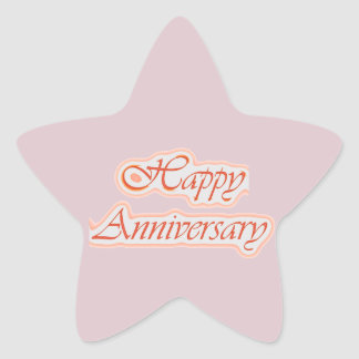 HAPPY Anniversary : Elegant Text  Background Color Star Sticker
