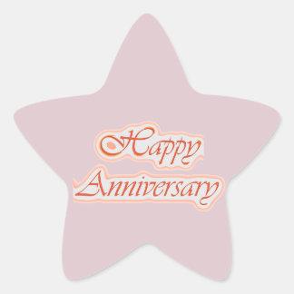 HAPPY Anniversary : Elegant Text  Background Star Sticker