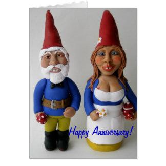Happy Anniversary Gnome Couple Card