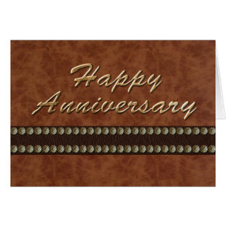 Happy Anniversary -Gold and Leather Card
