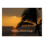 Happy Anniversary Hawaiian Tropical Sunset Greeting Cards