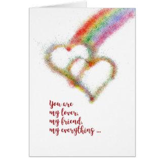 Happy Anniversary, Husband, Gay, Rainbow,  Hearts Card