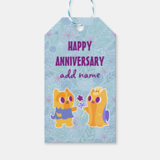 Happy Anniversary Kawaii Dog Puppy Love Yorkies Pack Of Gift Tags