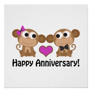 Happy Anniversary Monkeys Perfect Poster
