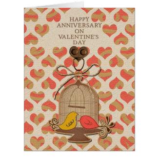 Happy Anniversary on Valentine's Day Lovebirds Card