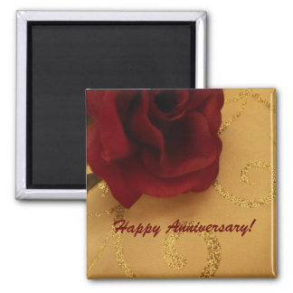 Happy Anniversary Red Rose Magnet