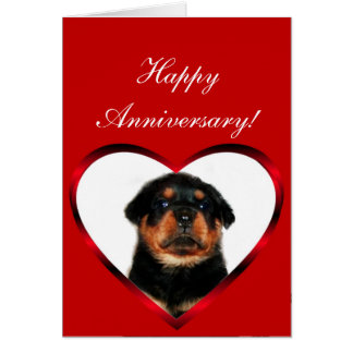 Happy Anniversary Rottweiler puppy greeting card