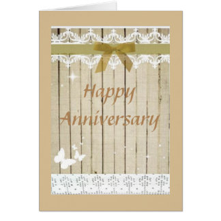 Happy Anniversary Rustic Beige Country Card