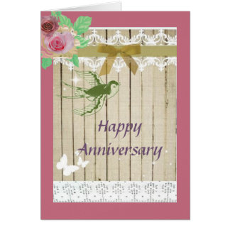 Happy Anniversary Rustic Pink Country Card