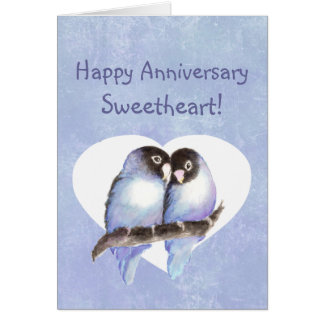 Happy Anniversary Sweetheart Blue Lovebirds Card