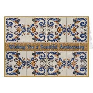 Happy Anniversary Vintage CeramicTiles Card