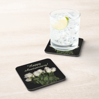 Happy Anniversary with White Roses Photo Coaster
