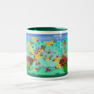 Happy Aquarium Green Mug- Loraine Two-Tone Coffee Mug