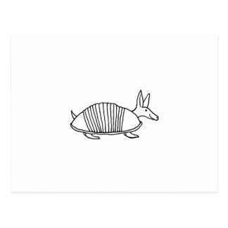 Happy Armadillo unique whimsical line drawing art Postcard