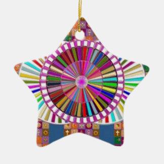 HAPPY ART:  CHRISTMAS HOLIDAYS FESTIVALS CERAMIC STAR ORNAMENT