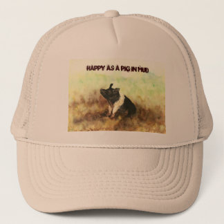 """Happy as a Pig in Mud"" - Men's Trucker Hat"
