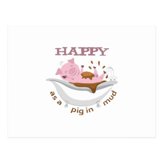 HAPPY AS A PIG IN MUD POSTCARD