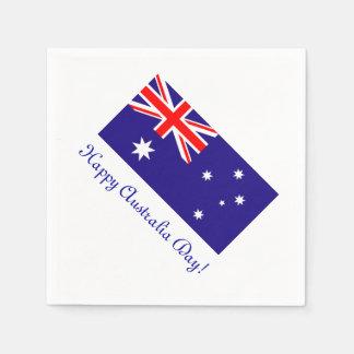 Happy Australia Day napkins with australian flag