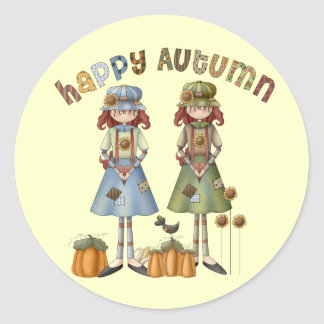 Happy Autumn Thanksgiving Round Stickers