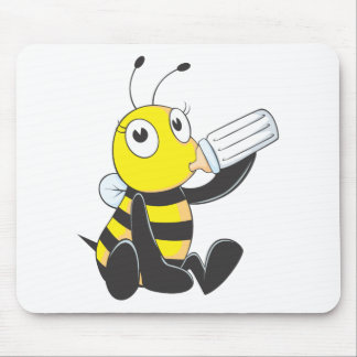 Happy Baby Bee Drinking Milk Mouse Pad