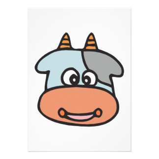 happy baby cow face personalized invite