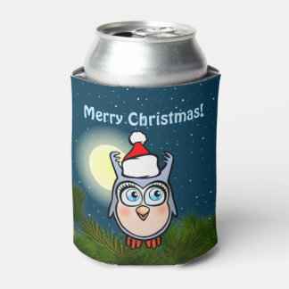 Happy Baby Owl With Christmas Hat Can Cooler