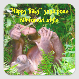 Happy Baby Rainforest Yoga Square Sticker