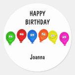Happy Balloons, HAPPYBIRTHDAY, Round Stickers