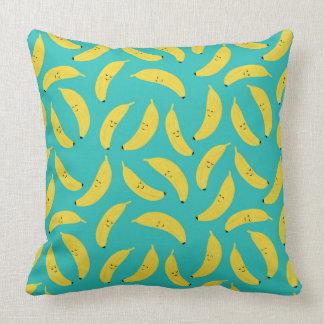 Happy Bananas Cute Fruit Pattern Throw Pillow