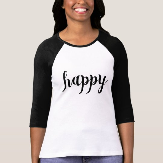 """Happy"" Baseball T-shirt For Women"