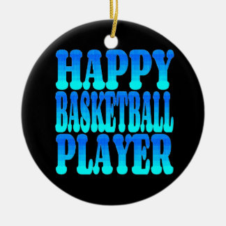 Happy Basketball Player in Blue Ceramic Ornament