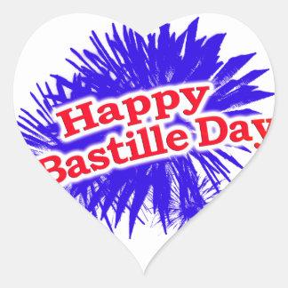 Happy Bastille Day Graphic Logo Heart Sticker