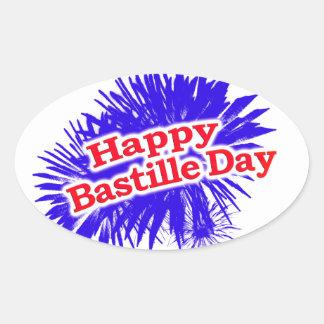 Happy Bastille Day Graphic Logo Oval Sticker