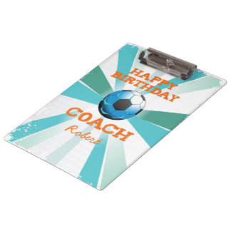 Happy Bday Soccer Coach Orange/Teal/Blue Starburst Clipboard