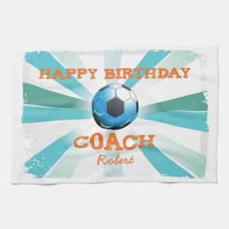 Happy Bday Soccer Coach Orange/Teal/Blue Starburst Kitchen Towel