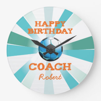 Happy Bday Soccer Coach Orange/Teal/Blue Starburst Large Clock